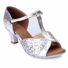 UK Women's Ballroom Latin Tango Dance Shoes Heeled Salsa Party Shoes 3 Colors SZ