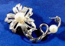 Manufactured Vintage Floral Pin Designer Sterling Cultured Pearls