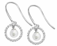 9ct White Gold Pearl Fish Hook Wire Earrings
