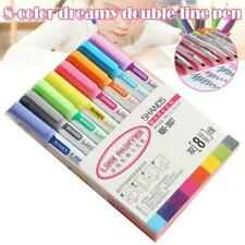 8 Color Double Line Card Writing Drawing Outline Pen Highlighter Marker Pen Best