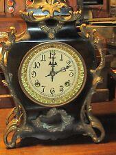 Antique metal case New Haven Clock ornate parlor clock