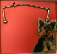 NEW Fuzzy Nation Yorkshire Terrier Toto Dog Purse Hook Hanger For Table Boxed