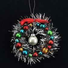 GISELA GRAHAM VINTAGE TINSEL GLASS BALL WREATH 13cm CHRISTMAS TREE DECORATION