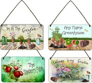 Personalised Garden Hanging Plaque Backyard Allotment Shed Sign Alcohol flowers