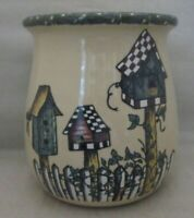 Home & Garden Party Stoneware Birdhouse pattern Utensil Crock 2004