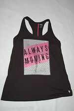 Womens Fitness Tank Top BLACK RACERBACK Runner ALWAYS MOVING Loose Fit S 4-6