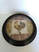 "Rooster wall clock 12"" Plastic Rim Dark Brown Like new working"