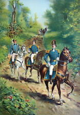 US ARMY in 1812 General & Staff Officers on Horses - COLOR Litho Print
