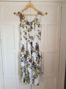 Phool Vintage White Floral Pattern Maxi Summer Sun Dress VGC M 10 12