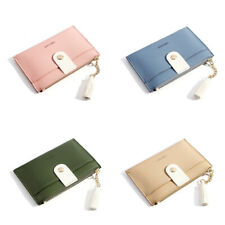 Popular Women's Solid Color Wallets Tassels Trendy Card Holder Zipper Coin Purse