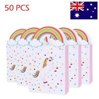 50x Unicorn Paper Gift Bags Loot Lolly Bag Handles Pack Candy Box for Party 14*8