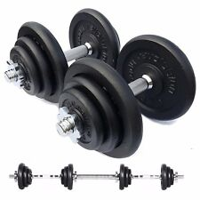 40kg Cast Iron Dumbbell Set Weights Training Home Gym Biceps Triceps Bars