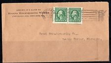 US 1920 LARGE IMPERF PAIR WITH CENTER LINES Sc. 408 TIED CHICAGO TO ANN ARBOR,MI