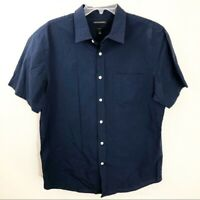 Men's Banana Republic Large Slim Fit Blue Button Up Down Short Sleeve Pocket
