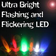 Ultra Bright Flashing / Flickering LEDs 3mm/5mm/8mm/10mm Multi Colour UK Seller