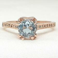 Genuine 1.25ctw Swiss Topaz & H-SI Diamond 14K Rose Gold 925 Silver Ring Sz 6.75