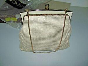 Vintage Original Glomesh Bone Mesh Evening Bag With Tag Brand New As Shown