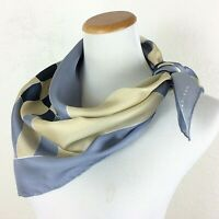 "Vintage MARJA KURKI Silk Scarf Geometric Gray Beige Black White 31"" Square"