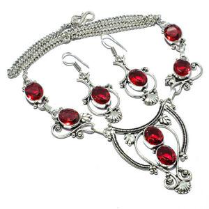 "Red Garnet Set, Red Garnet Set Handmade Ethnic Style Jewelry Necklace 18"" LL"