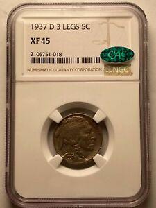 1937-D 3-Legged Buffalo Nickel, Rare Error Coin Key Date Original NGC XF45 (CAC)