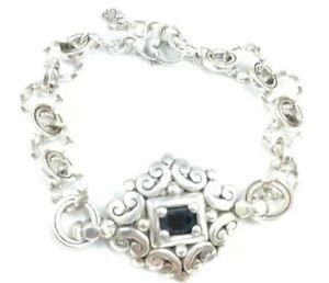 Brighton bracelet scroll detailed circle link black crystal