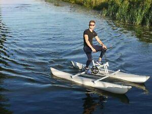 Water Bike Pontoon Catamaran Paddle Pedal Boat Hydro Water Kayak Sport Bicycle