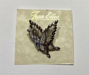 Pin/Brooch BUTTERFLY WING -silver color- clear sparkly crystals- blue stone