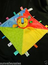 Taggies Lion Patchkin Baby Blanket Blue Green Yellow Security Lovey  Toy