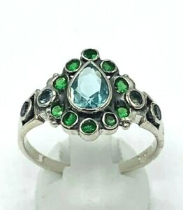 Ring Aquamarine & Emerald 925er Silver Antique Style #54