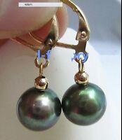 New AAA+ 10-9mm black green Tahitian Pearl Earrings Swing earrings 14k
