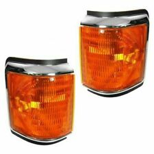 FIT FOR FD F150 PICK UP 1987 - 1991 CORNER LIGHTS W/CHROME RIGHT & LEFT PAIR SET