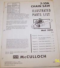 McCULLOCH CHAIN SAW MODEL 7-10A OEM ILLUSTRATED PARTS LIST