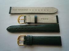 YEMA - 1 bracelet montre cuir vert foncé boucle dorée - 18mm