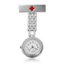 Stainless Steel Doctor Brooch Fob Clip-on Quartz Pin Pendant Pocket Nurse Watch