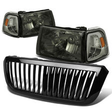 FOR 04-05 FORD RANGER SMOKED HEADLIGHT+AMBER CORNER LIGHT+GRILLE GUARD COVER
