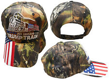 All Aboard The Trump Train 2020 Woodland Camo USA Flag Bill Embroidered Hat Cap