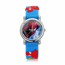 Fashion Spider Cartoon Child Boy Kid Analog Quartz Wrist Watch Rubber Leather HE