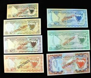 BAHRAIN 1/4-1/2-1-5-10-20 Dinar-100Fil SPECIMEN Banknotes Uncirculated SET (622)