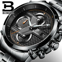 Chronograph Men's Watch Quartz Steel Black Stainless Digital Dial Sport Luxury