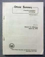 Official Summary of Security Transactions And Holdings March 13 to April 10 1995