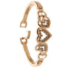 Fashion Women Gold Plated Crystal Cuff Bangle Love Heart Charm Bracelet New Lady