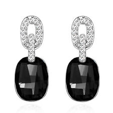 Black Stone Drop Stud Earrings E1119 Luxury Vintage Style Jewellery Silver &