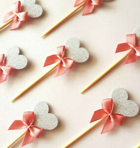 Silver Glitter Heart Cupcake Toppers w Pink Ribbon 12 PIECES Baby Shower Girl