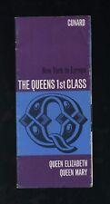 RMS Queen Elizabeth / Queen Mary - 1st Class Travel Brochure - Cunard Line