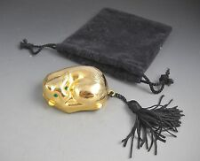Gold Tone Made in Italy Curled Up Green Eyed Kitty with Tail Tassel Pill Box
