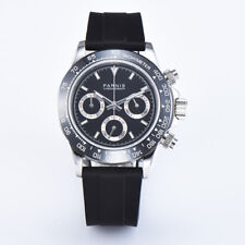Parnis Men's Chronograph Watch Sapphire Crystal Quartz Casual Wristwatch BF Gift