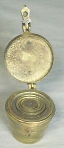 Antique SET Nesting BRASS Balance Scal Weights 1U Graduated Apothecary Cup