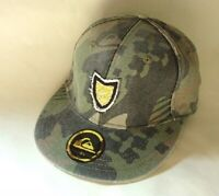 QUIKSILVER Gray Camo Cotton Hat Cap Mens Fitted Size 7 5/8 NEW NWT