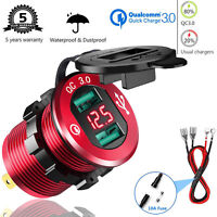 QC 3.0 Dual USB Charger Socket w/ Voltmeter&Wire Waterproof for Car Marine Boat
