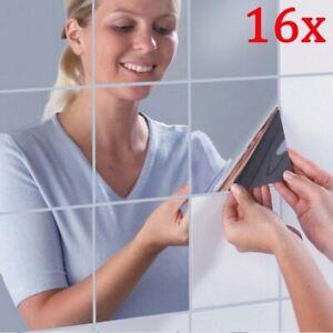 16 tlg DIY Spiegelfliesen Wandspiegel Spiegelfolie Selbstklebend Aufkleber Folie